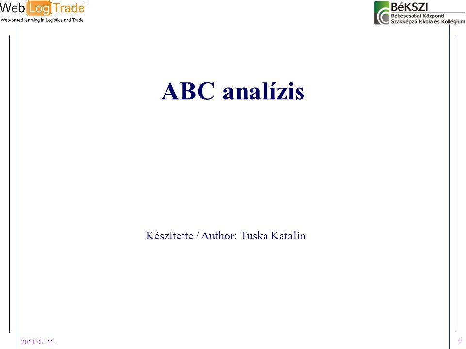 2014. 07. 11. 1 ABC analízis Készítette / Author: Tuska Katalin