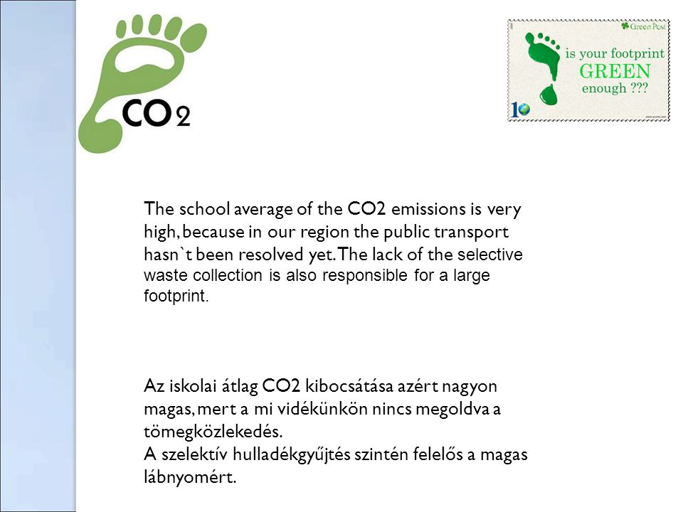 The school average of the CO2 emissions is very high, because in our region the public transport hasn`t been resolved yet. The lack of the selective w