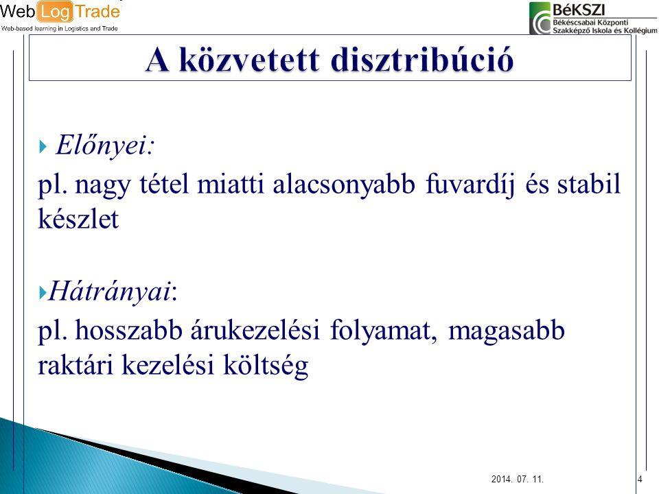  Előnyei: pl. nagy tétel miatti alacsonyabb fuvardíj és stabil készlet  Hátrányai: pl.