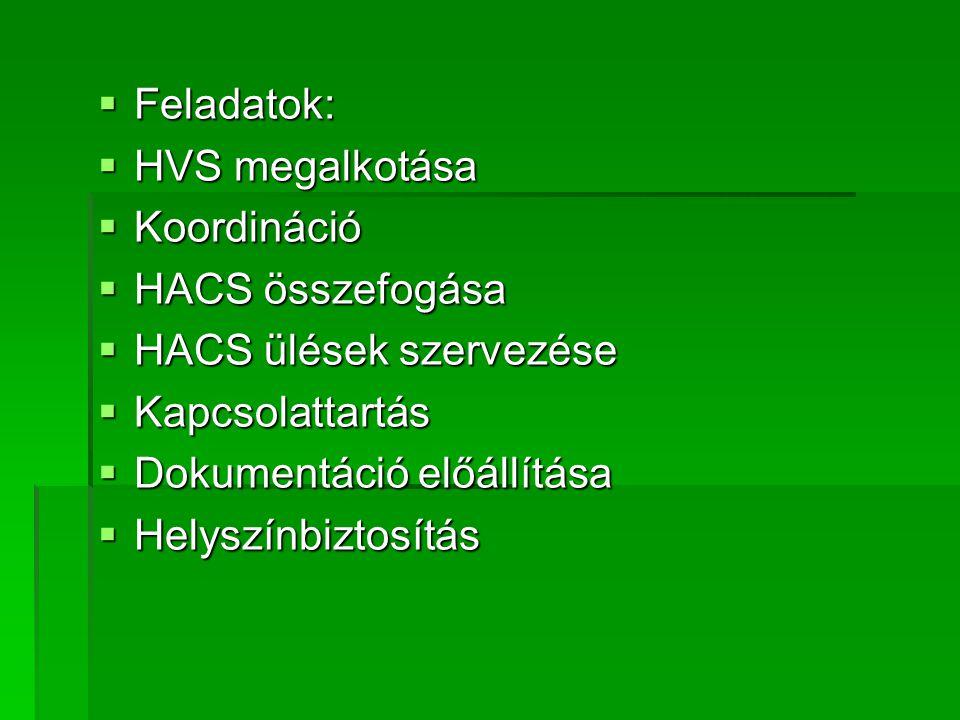  Feladatok:  HVS megalkotása  Koordináció  HACS összefogása  HACS ülések szervezése  Kapcsolattartás  Dokumentáció előállítása  Helyszínbiztosítás