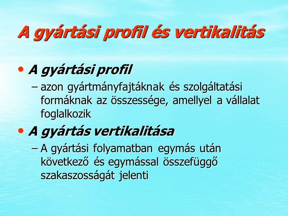 A gyártási profil és vertikalitás A gyártási profil A gyártási profil –azon gyártmányfajtáknak és szolgáltatási formáknak az összessége, amellyel a vá