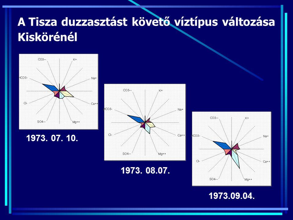 A Tisza duzzasztást követő víztípus változása Kiskörénél 1973. 07. 10. 1973. 08.07. 1973.09.04.