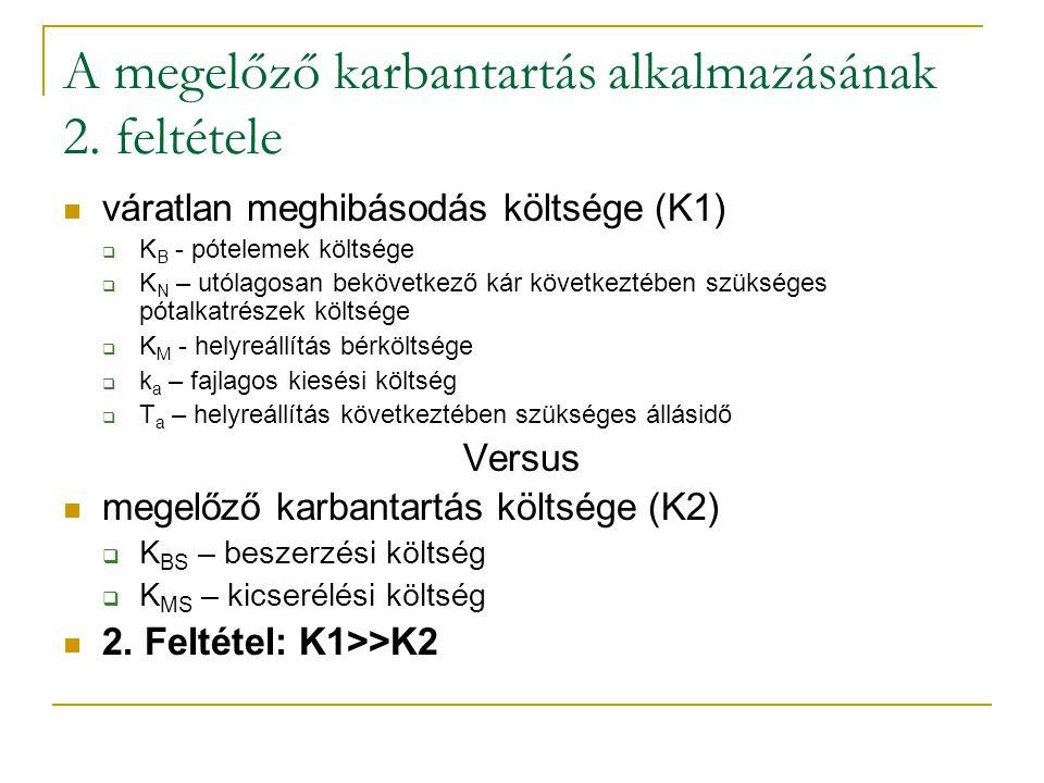 A megelőző karbantartás alkalmazásának 2. feltétele váratlan meghibásodás költsége (K1)  K B - pótelemek költsége  K N – utólagosan bekövetkező kár