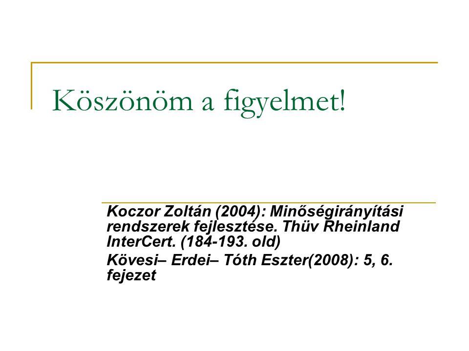 Köszönöm a figyelmet! Koczor Zoltán (2004): Minőségirányítási rendszerek fejlesztése. Thüv Rheinland InterCert. (184-193. old) Kövesi– Erdei– Tóth Esz