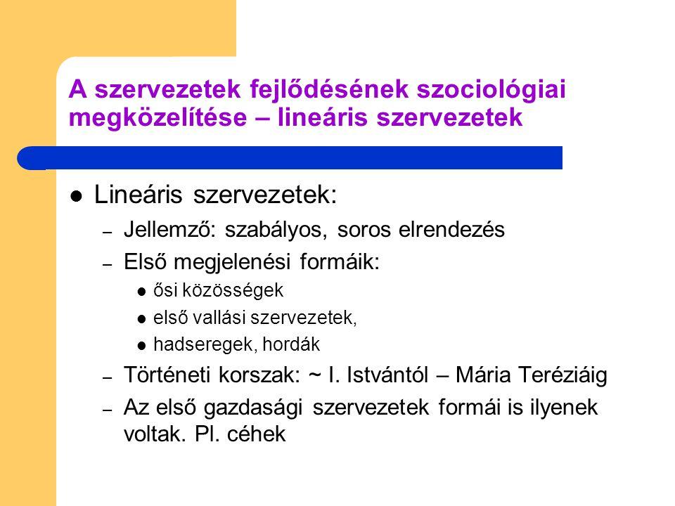 Tulajdonos/vezető alkalmazottak A szervezetek fejlődésének szociológiai megközelítése - lineáris szervezetek II.