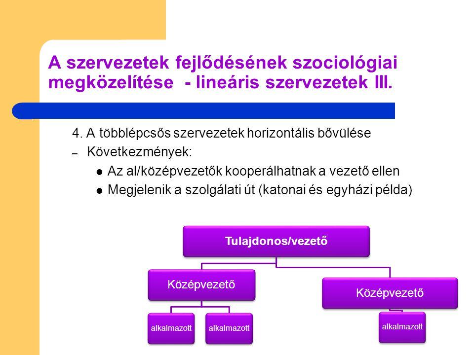 Következmények folyt.: – A vezetők feladata az al/középvezetők irányítása – A szolgálati út megjelenése lassítja a folyamatokat – Két alsóbb szintű vezető csak felsővezetőn keresztül kommunikálhat egymással – A szervezet méretének növekedésével a döntések komplikáltabbá válnak  tanácsadói testületre van szükség – Elindul a szervezet a funkcionalitás irányába A szervezetek fejlődésének szociológiai megközelítése - lineáris szervezetek IV.