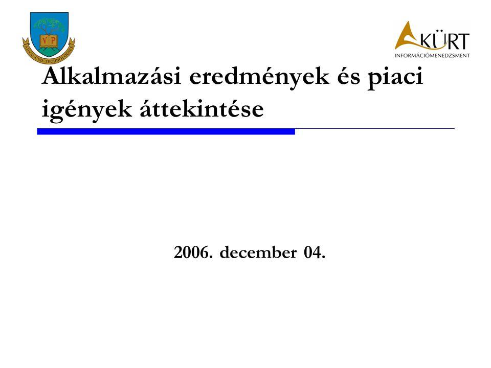 Alkalmazási eredmények és piaci igények áttekintése 2006. december 04.