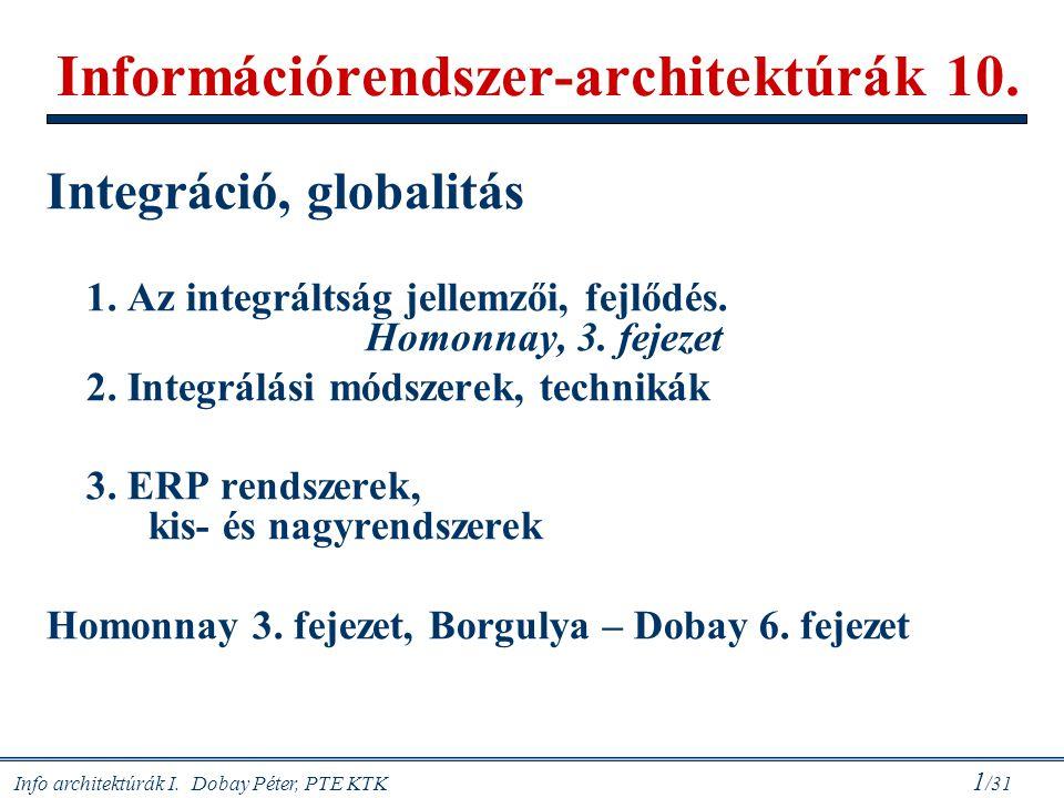 Info architektúrák I. Dobay Péter, PTE KTK 1 /31 Információrendszer-architektúrák 10. Integráció, globalitás 1. Az integráltság jellemzői, fejlődés. H