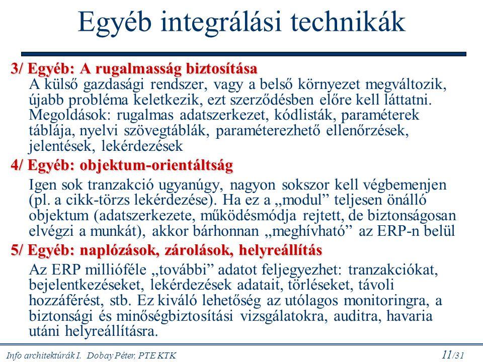 Info architektúrák I. Dobay Péter, PTE KTK 11 /31 Egyéb integrálási technikák 3/ Egyéb: A rugalmasság biztosítása 3/ Egyéb: A rugalmasság biztosítása
