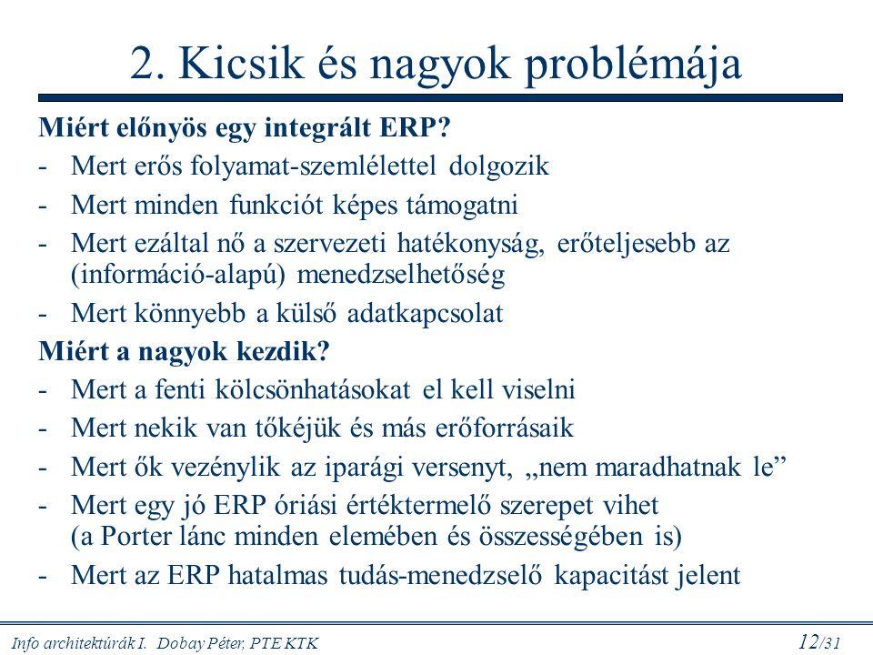 Info architektúrák I. Dobay Péter, PTE KTK 12 /31 2. Kicsik és nagyok problémája Miért előnyös egy integrált ERP? -Mert erős folyamat-szemlélettel dol