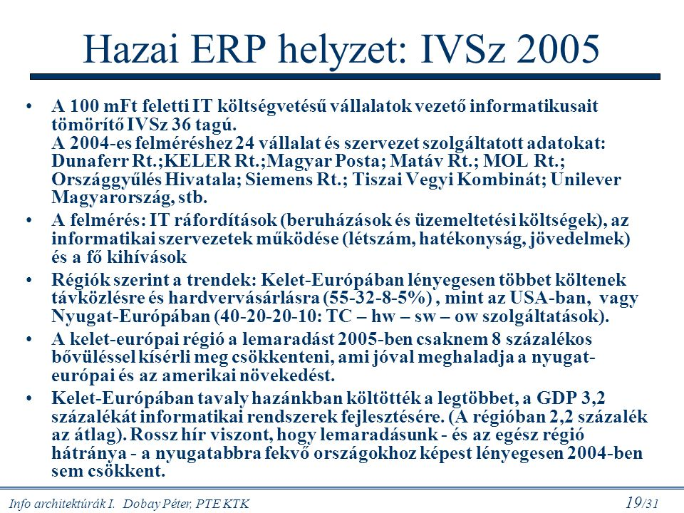Info architektúrák I. Dobay Péter, PTE KTK 19 /31 Hazai ERP helyzet: IVSz 2005 A 100 mFt feletti IT költségvetésű vállalatok vezető informatikusait tö