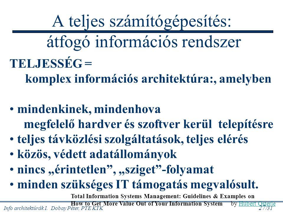 Info architektúrák I. Dobay Péter, PTE KTK 27 /31 A teljes számítógépesítés: átfogó információs rendszer TELJESSÉG = komplex információs architektúra: