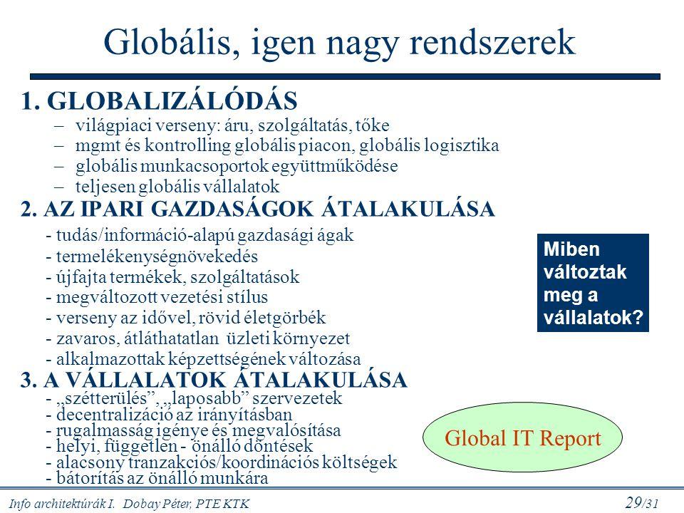 Info architektúrák I. Dobay Péter, PTE KTK 29 /31 Globális, igen nagy rendszerek 1. GLOBALIZÁLÓDÁS –világpiaci verseny: áru, szolgáltatás, tőke –mgmt