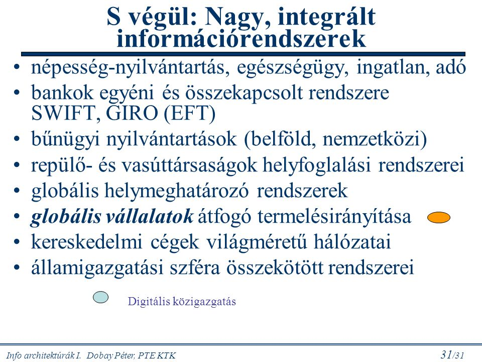 Info architektúrák I. Dobay Péter, PTE KTK 31 /31 S végül: Nagy, integrált információrendszerek népesség-nyilvántartás, egészségügy, ingatlan, adó ban