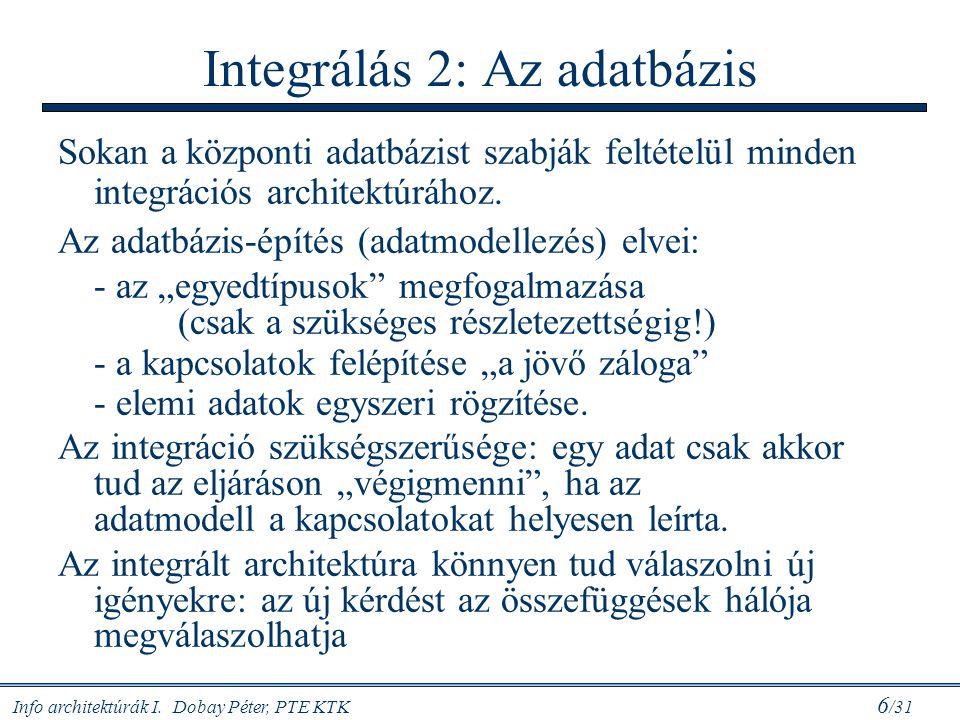 Info architektúrák I. Dobay Péter, PTE KTK 6 /31 Integrálás 2: Az adatbázis Sokan a központi adatbázist szabják feltételül minden integrációs architek