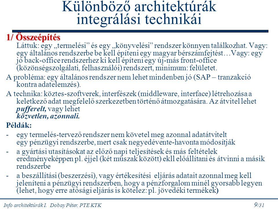 """Info architektúrák I. Dobay Péter, PTE KTK 9 /31 Különböző architektúrák integrálási technikái 1/ Összeépítés 1/ Összeépítés Láttuk: egy """"termelési"""" é"""