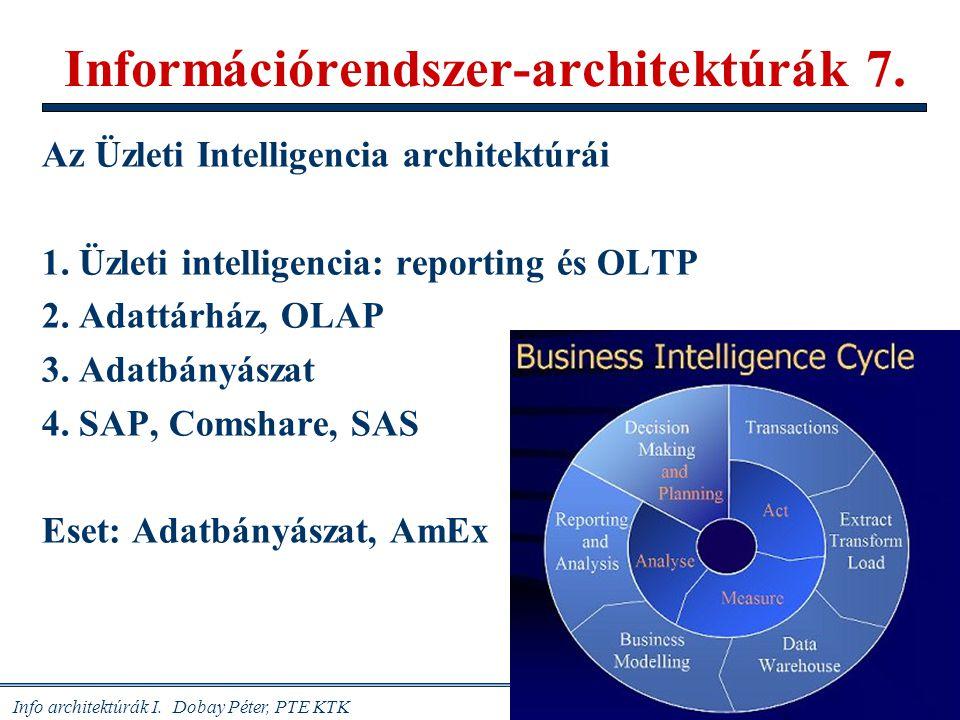 Info architektúrák I. Dobay Péter, PTE KTK 1 /46 Információrendszer-architektúrák 7. Az Üzleti Intelligencia architektúrái 1. Üzleti intelligencia: re