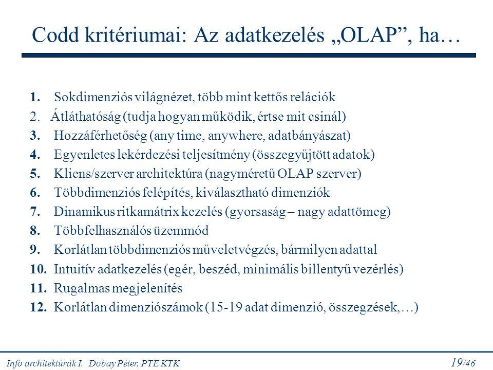 """Info architektúrák I. Dobay Péter, PTE KTK 19 /46 Codd kritériumai: Az adatkezelés """"OLAP"""", ha… 1. Sokdimenziós világnézet, több mint kettős relációk 2"""