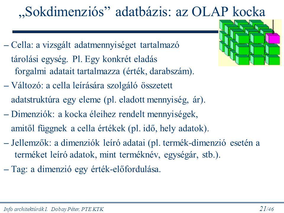 """Info architektúrák I. Dobay Péter, PTE KTK 21 /46 """"Sokdimenziós"""" adatbázis: az OLAP kocka – Cella: a vizsgált adatmennyiséget tartalmazó tárolási egys"""