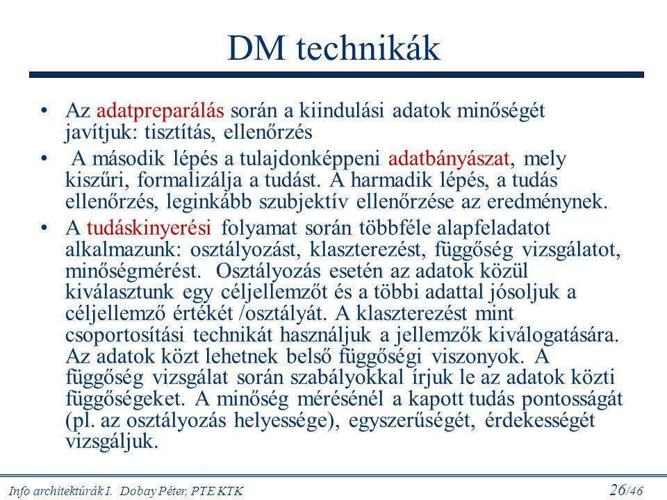 Info architektúrák I. Dobay Péter, PTE KTK 26 /46 DM technikák Az adatpreparálás során a kiindulási adatok minőségét javítjuk: tisztítás, ellenőrzés A