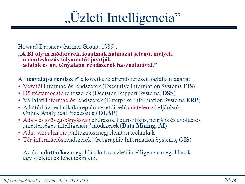 """Info architektúrák I. Dobay Péter, PTE KTK 28 /46 """"Üzleti Intelligencia"""" Howard Dresner (Gartner Group, 1989): """"A BI olyan módszerek, fogalmak halmazá"""