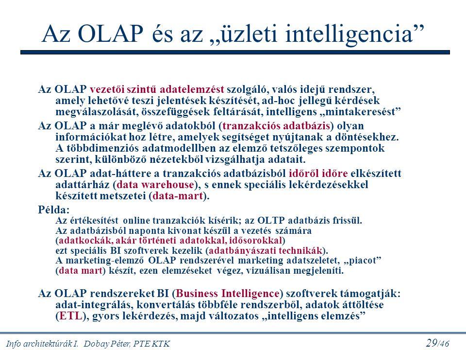 """Info architektúrák I. Dobay Péter, PTE KTK 29 /46 Az OLAP és az """"üzleti intelligencia"""" Az OLAP vezetői szintű adatelemzést szolgáló, valós idejű rends"""