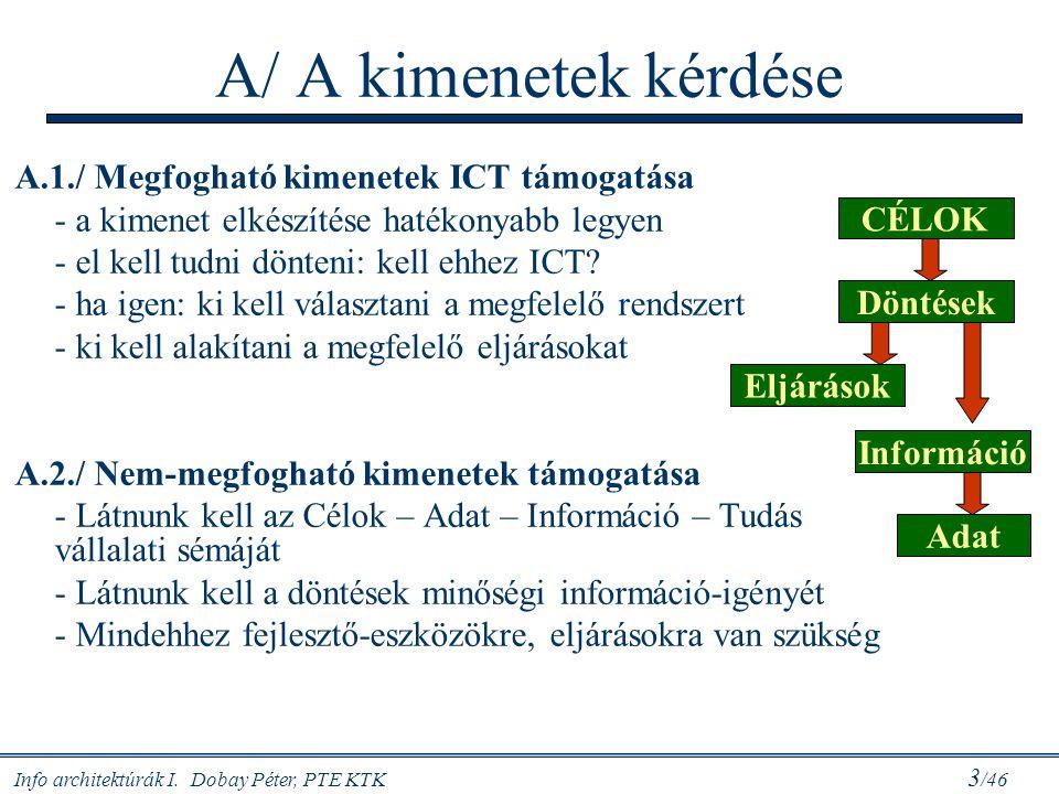 Info architektúrák I. Dobay Péter, PTE KTK 3 /46 A/ A kimenetek kérdése A.1./ Megfogható kimenetek ICT támogatása - a kimenet elkészítése hatékonyabb