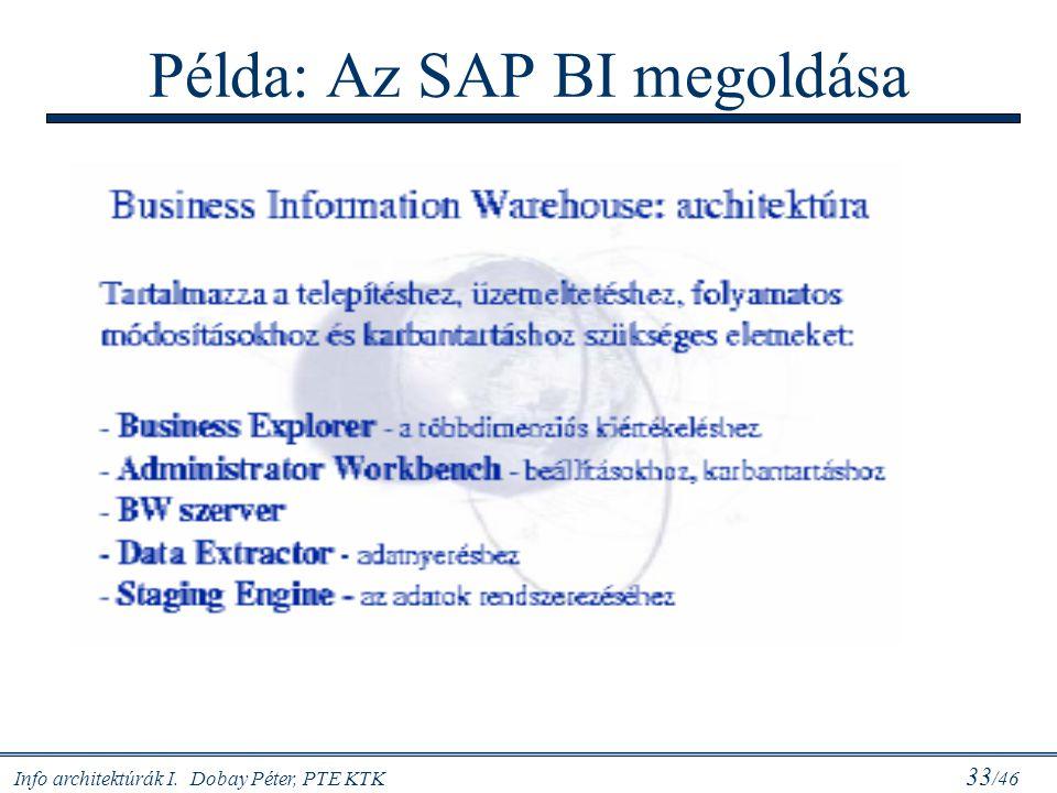Info architektúrák I. Dobay Péter, PTE KTK 33 /46 Példa: Az SAP BI megoldása
