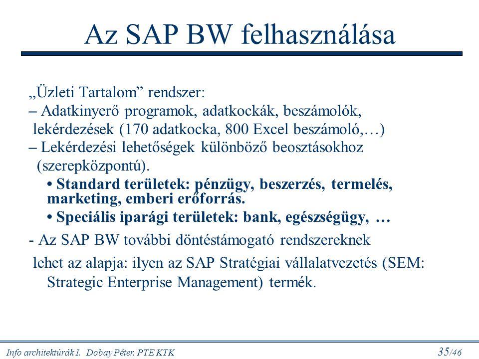 """Info architektúrák I. Dobay Péter, PTE KTK 35 /46 Az SAP BW felhasználása """"Üzleti Tartalom"""" rendszer: – Adatkinyerő programok, adatkockák, beszámolók,"""