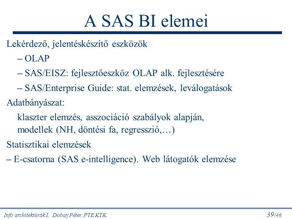 Info architektúrák I. Dobay Péter, PTE KTK 39 /46 A SAS BI elemei Lekérdező, jelentéskészítő eszközök – OLAP – SAS/EISZ: fejlesztőeszköz OLAP alk. fej