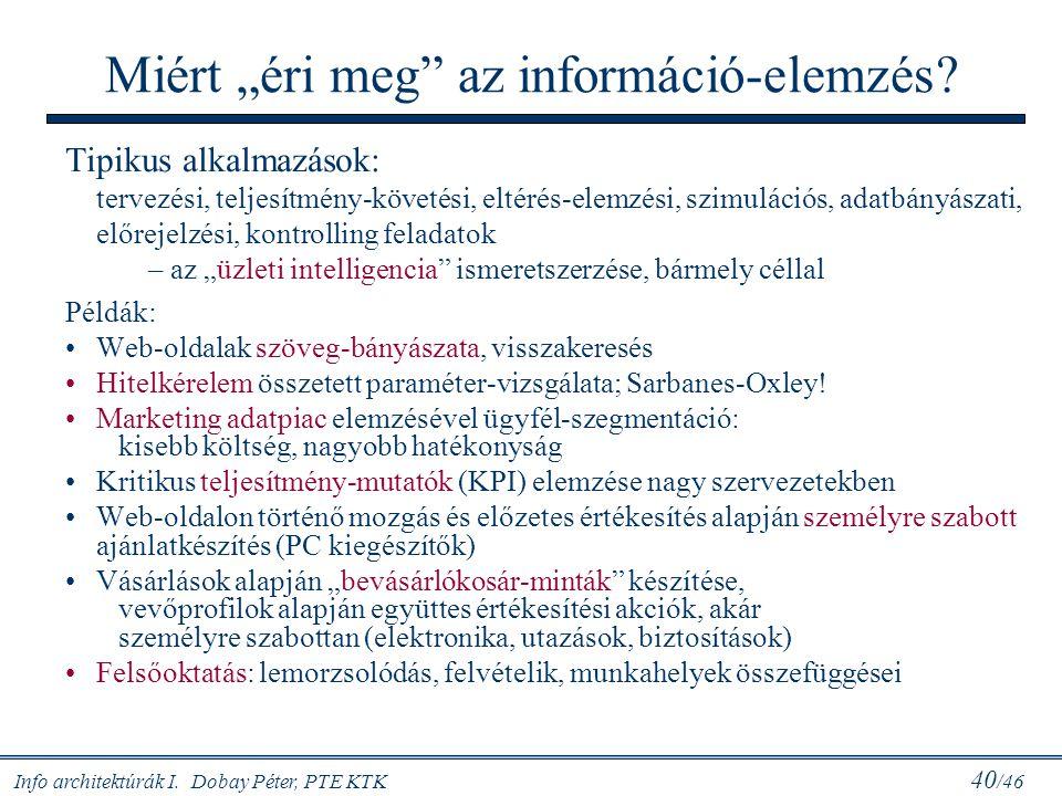 """Info architektúrák I. Dobay Péter, PTE KTK 40 /46 Miért """"éri meg"""" az információ-elemzés? Tipikus alkalmazások: tervezési, teljesítmény-követési, eltér"""