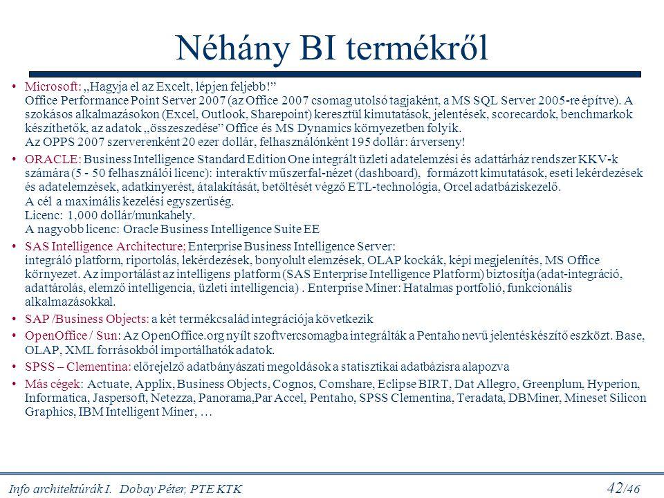 """Info architektúrák I. Dobay Péter, PTE KTK 42 /46 Néhány BI termékről Microsoft: """"Hagyja el az Excelt, lépjen feljebb!"""" Office Performance Point Serve"""