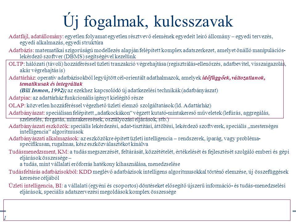 Info architektúrák I. Dobay Péter, PTE KTK 47 /46 Új fogalmak, kulcsszavak Adatfájl, adatállomány: egyetlen folyamat egyetlen résztvevő elemének egyed