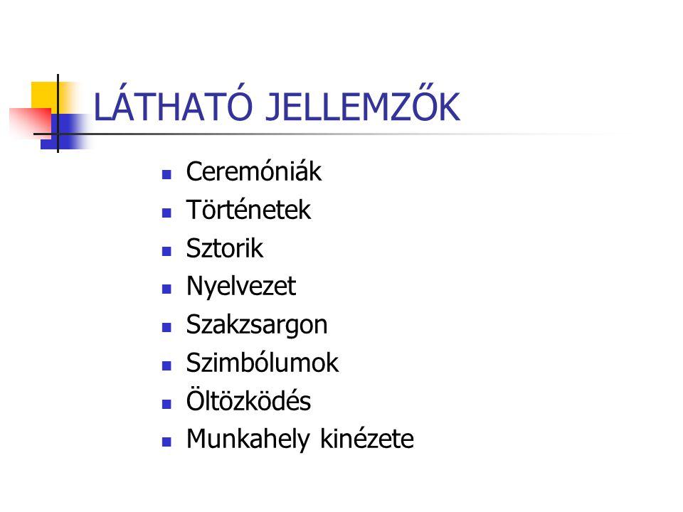 LÁTHATÓ JELLEMZŐK Ceremóniák Történetek Sztorik Nyelvezet Szakzsargon Szimbólumok Öltözködés Munkahely kinézete