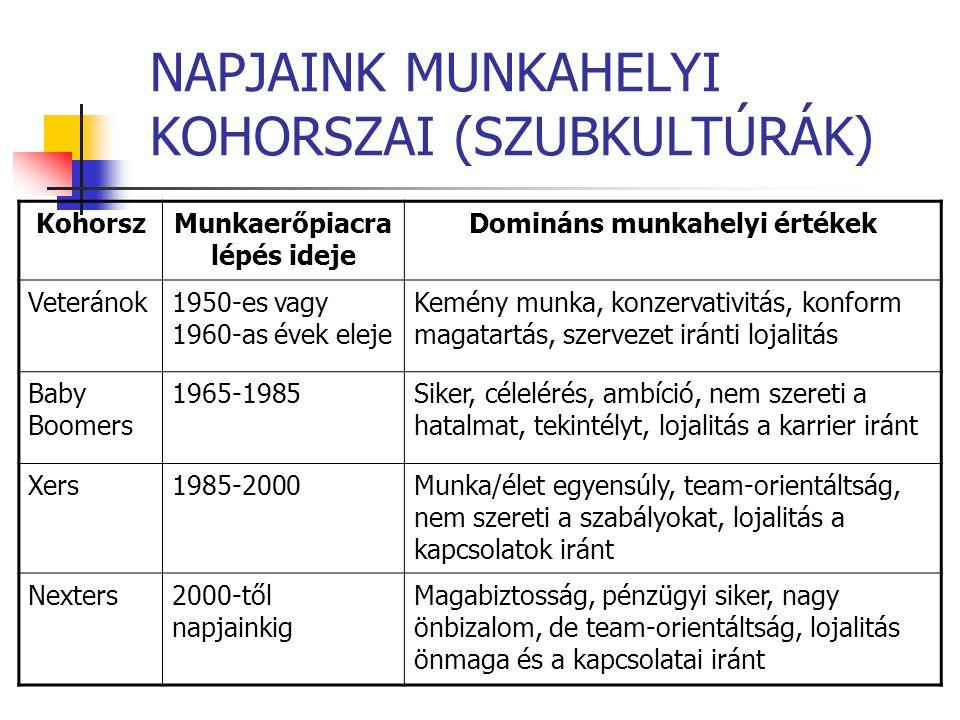 NAPJAINK MUNKAHELYI KOHORSZAI (SZUBKULTÚRÁK) KohorszMunkaerőpiacra lépés ideje Domináns munkahelyi értékek Veteránok1950-es vagy 1960-as évek eleje Ke