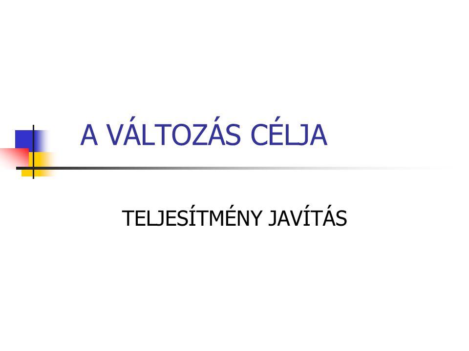 A VÁLTOZÁS CÉLJA TELJESÍTMÉNY JAVÍTÁS