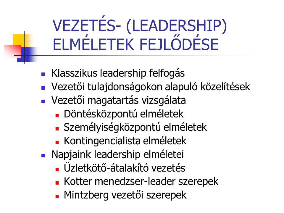 VEZETÉS- (LEADERSHIP) ELMÉLETEK FEJLŐDÉSE Klasszikus leadership felfogás Vezetői tulajdonságokon alapuló közelítések Vezetői magatartás vizsgálata Dön