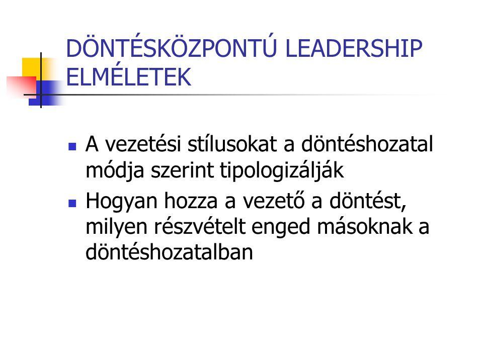 DÖNTÉSKÖZPONTÚ LEADERSHIP ELMÉLETEK A vezetési stílusokat a döntéshozatal módja szerint tipologizálják Hogyan hozza a vezető a döntést, milyen részvét