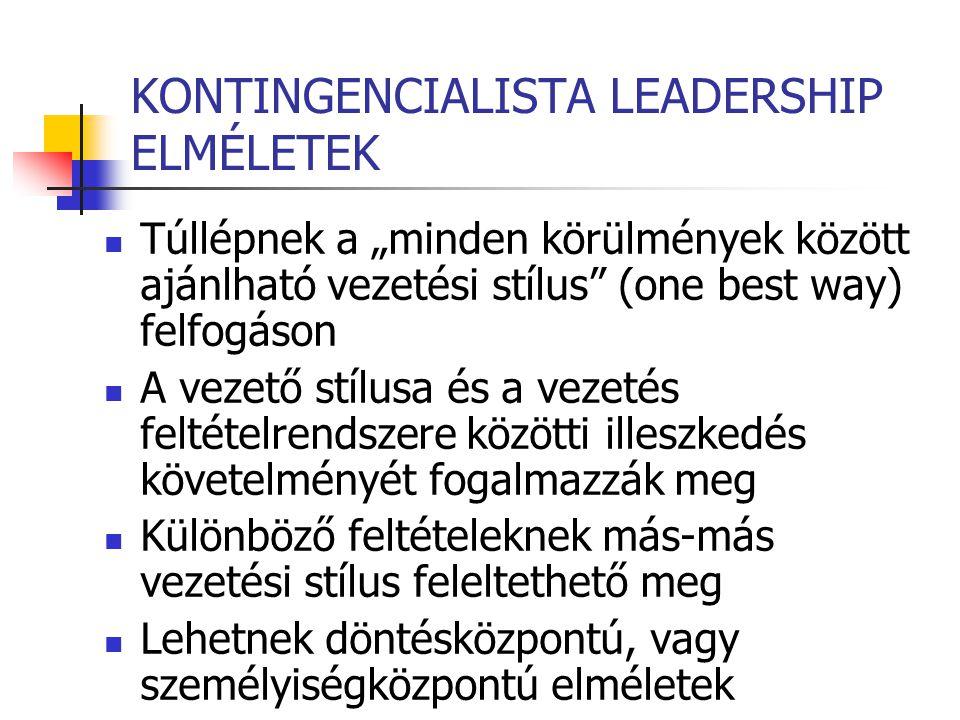"""KONTINGENCIALISTA LEADERSHIP ELMÉLETEK Túllépnek a """"minden körülmények között ajánlható vezetési stílus"""" (one best way) felfogáson A vezető stílusa és"""