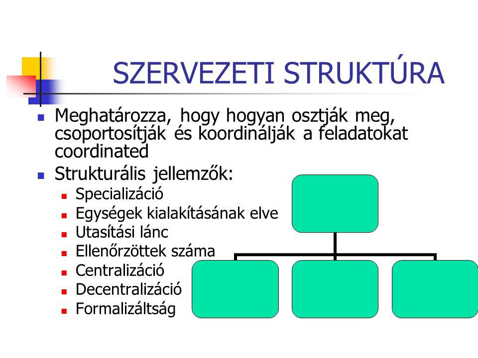 SZERVEZETI STRUKTÚRA Meghatározza, hogy hogyan osztják meg, csoportosítják és koordinálják a feladatokat coordinated Strukturális jellemzők: Specializ
