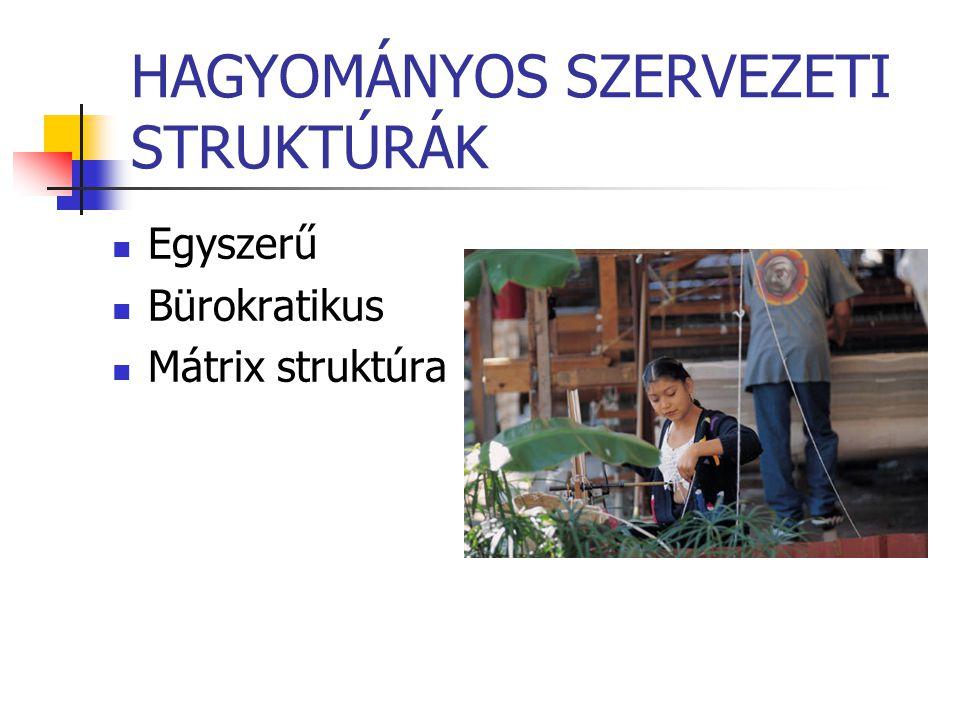 HAGYOMÁNYOS SZERVEZETI STRUKTÚRÁK Egyszerű Bürokratikus Mátrix struktúra