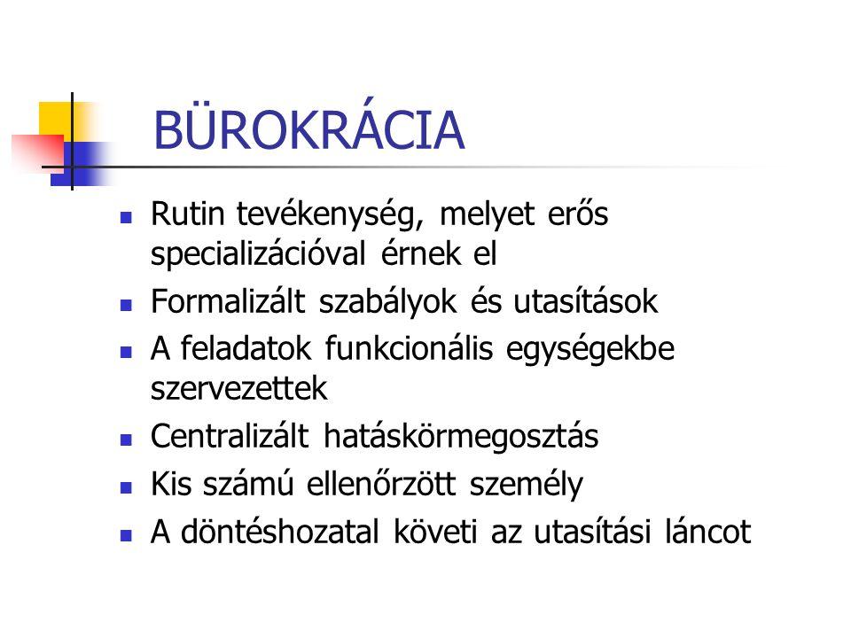 BÜROKRÁCIA Rutin tevékenység, melyet erős specializációval érnek el Formalizált szabályok és utasítások A feladatok funkcionális egységekbe szervezett