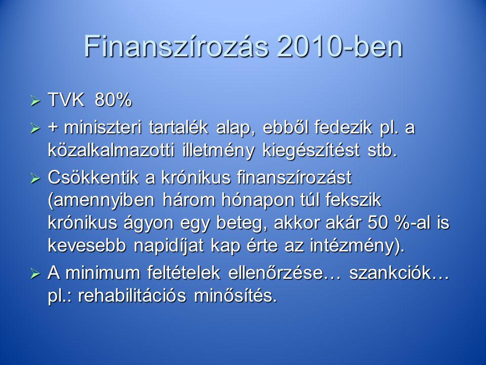 Finanszírozás 2010-ben  TVK 80%  + miniszteri tartalék alap, ebből fedezik pl. a közalkalmazotti illetmény kiegészítést stb.  Csökkentik a krónikus