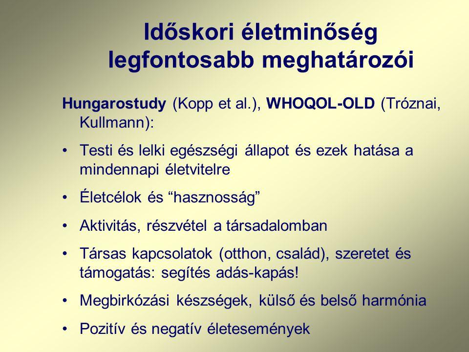 Időskori életminőség legfontosabb meghatározói Hungarostudy (Kopp et al.), WHOQOL-OLD (Tróznai, Kullmann): Testi és lelki egészségi állapot és ezek ha