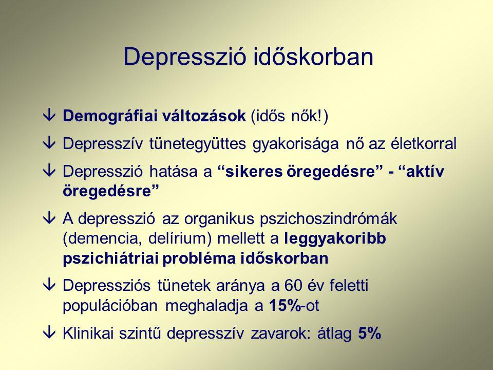 Depresszió időskorban âDemográfiai változások (idős nők!) âDepresszív tünetegyüttes gyakorisága nő az életkorral âDepresszió hatása a sikeres öregedésre - aktív öregedésre âA depresszió az organikus pszichoszindrómák (demencia, delírium) mellett a leggyakoribb pszichiátriai probléma időskorban âDepressziós tünetek aránya a 60 év feletti populációban meghaladja a 15%-ot âKlinikai szintű depresszív zavarok: átlag 5%