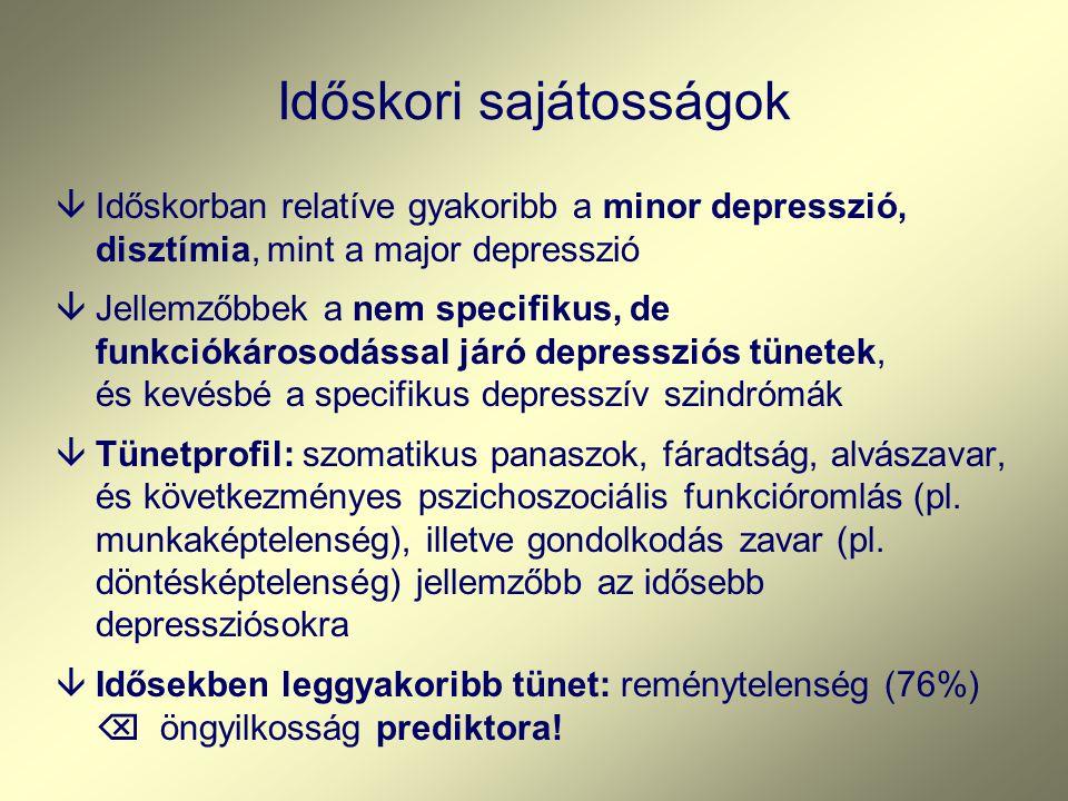 Időskori sajátosságok âIdőskorban relatíve gyakoribb a minor depresszió, disztímia, mint a major depresszió âJellemzőbbek a nem specifikus, de funkciókárosodással járó depressziós tünetek, és kevésbé a specifikus depresszív szindrómák âTünetprofil: szomatikus panaszok, fáradtság, alvászavar, és következményes pszichoszociális funkcióromlás (pl.