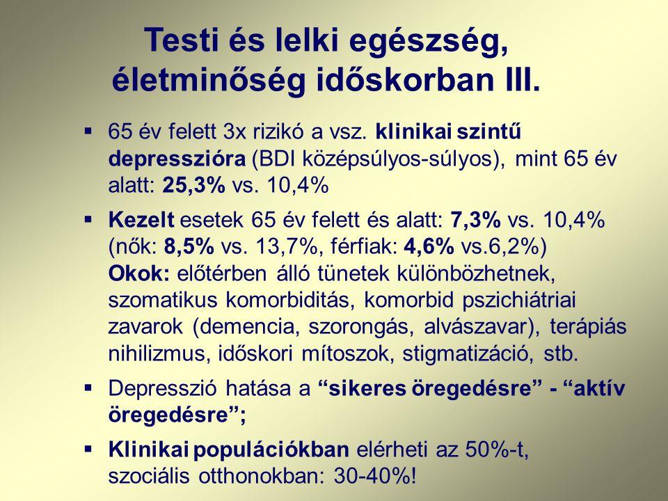  65 év felett 3x rizikó a vsz. klinikai szintű depresszióra (BDI középsúlyos-súlyos), mint 65 év alatt: 25,3% vs. 10,4%  Kezelt esetek 65 év felett