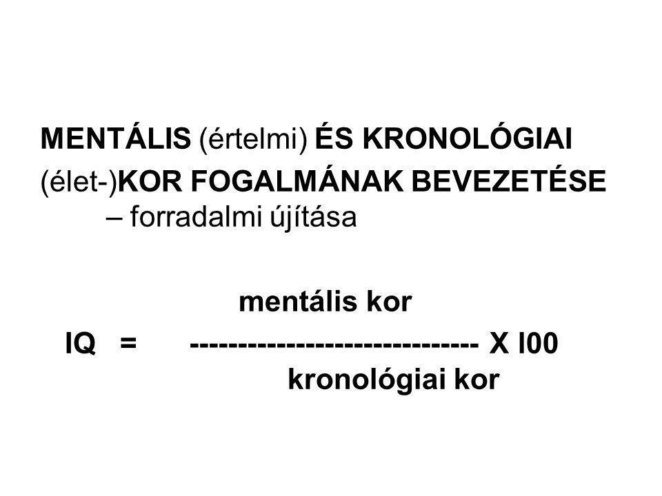 MENTÁLIS (értelmi) ÉS KRONOLÓGIAI (élet-)KOR FOGALMÁNAK BEVEZETÉSE – forradalmi újítása mentális kor IQ = ------------------------------ X l00 kronoló