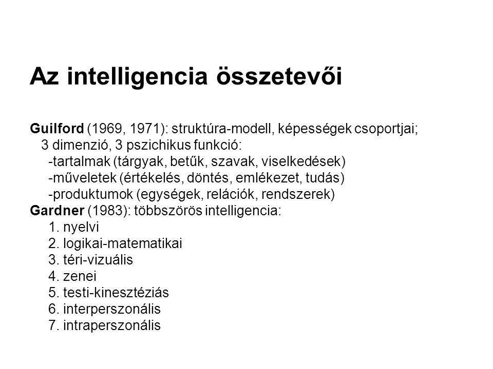 Az intelligencia összetevői Guilford (1969, 1971): struktúra-modell, képességek csoportjai; 3 dimenzió, 3 pszichikus funkció: -tartalmak (tárgyak, bet