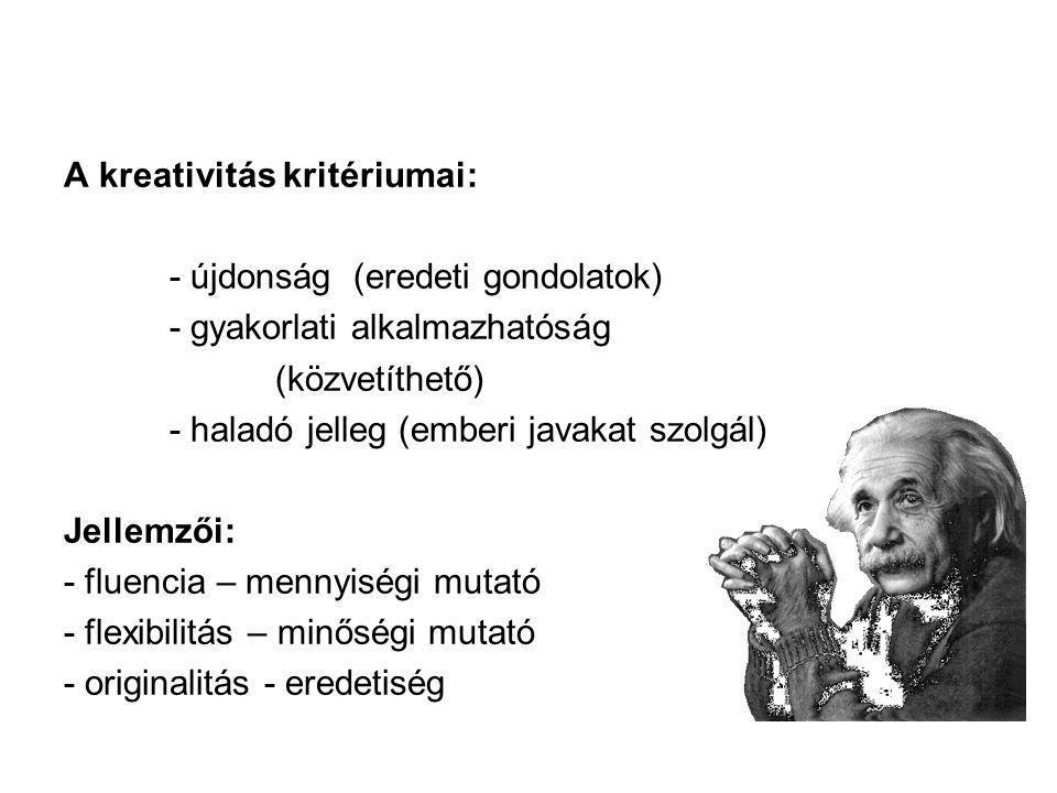 A kreativitás kritériumai: - újdonság (eredeti gondolatok) - gyakorlati alkalmazhatóság (közvetíthető) - haladó jelleg (emberi javakat szolgál) Jellem